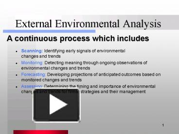 using external environmental scanning and forecasting