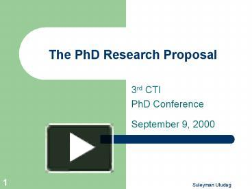 PhD Dissertation Proposal Presentation