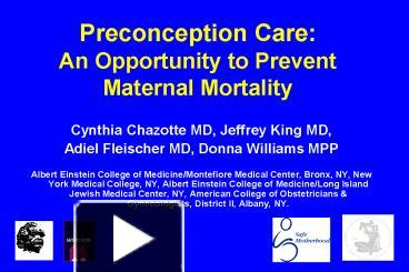 PPT – Preconception Care: An Opportunity to Prevent Maternal
