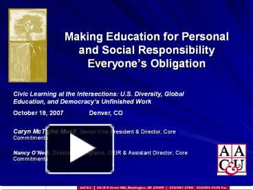 personal responsibility in education