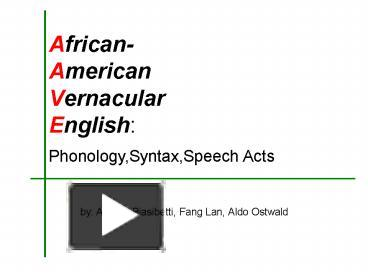 the phonology of african american vernacular
