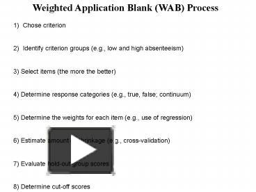 PPT - Weighted Application Blank WAB Process PowerPoint ...
