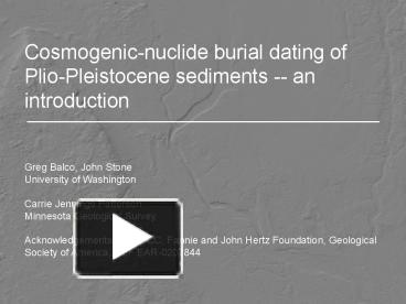 cosmogenic burial dating