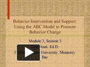 abc model of intervention