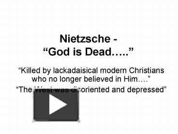 nietzsche god is dead