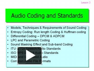 PPT – Audio Coding and Standards PowerPoint presentation