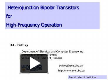 ppt – heterojunction bipolar transistors powerpoint presentation   free to  view - id: d73e1-zdc1z