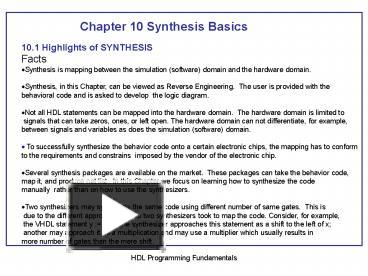 PPT – Chapter 10 Synthesis Basics PowerPoint presentation | free to