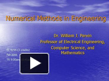 PPT – Numerical Methods in Engineering PowerPoint presentation