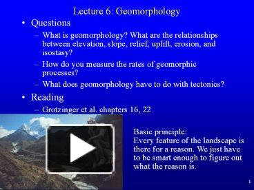 Dating geomorphic features