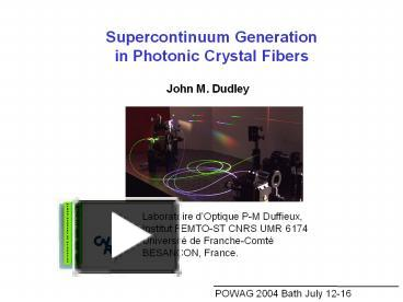 Ppt supercontinuum generation in photonic crystal fibers ppt supercontinuum generation in photonic crystal fibers powerpoint presentation free to download id e74f zdeyo toneelgroepblik Image collections