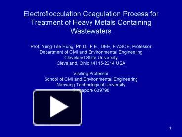 PPT – Electroflocculation Coagulation Process for Treatment
