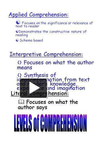 levels of comprehension