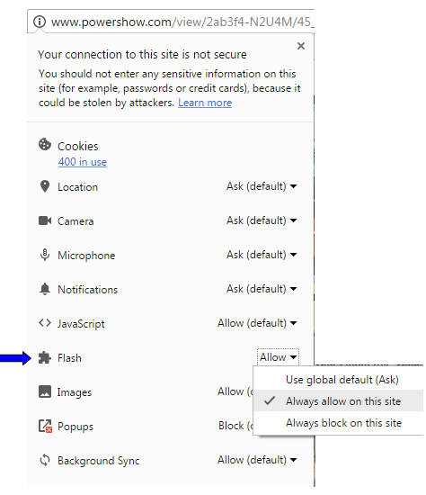 enable flash in chrome